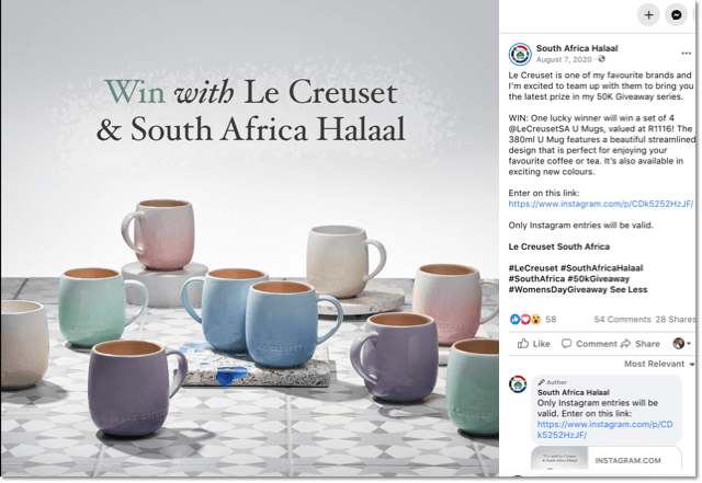 women's day giveaway ideas. example of how brands can promote instagram giveaways on facebook.