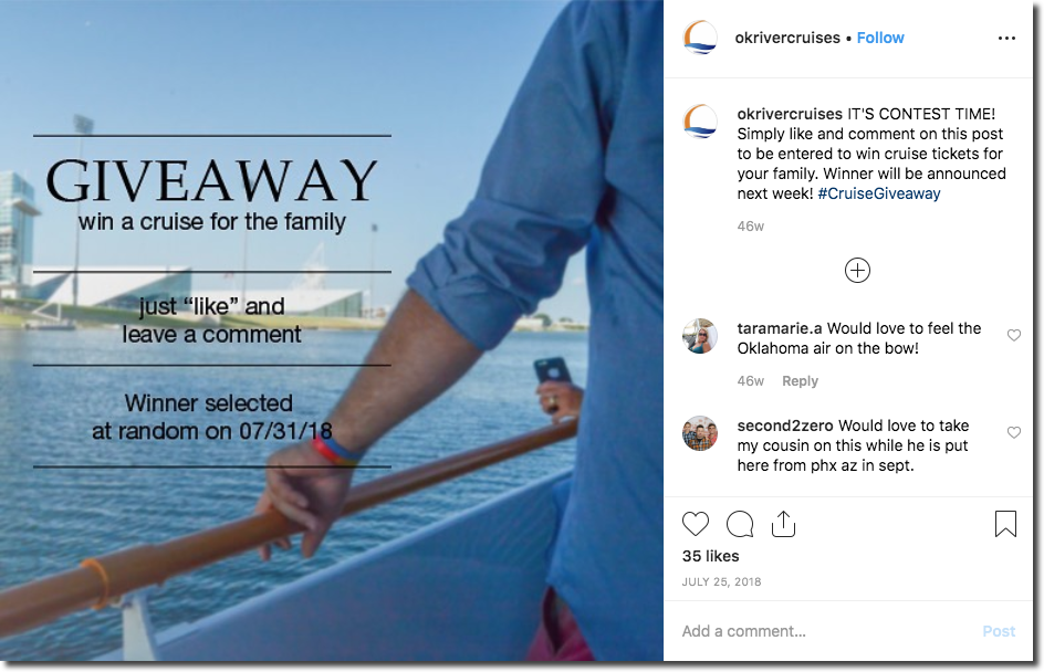 Screenshot of an Instagram giveaway to promote a cruise. The image shows a mans arm as he leans on the rail of a boat sailing down a river. The caption invites users to like and comment on the photo for the chance to win a family river cruise.