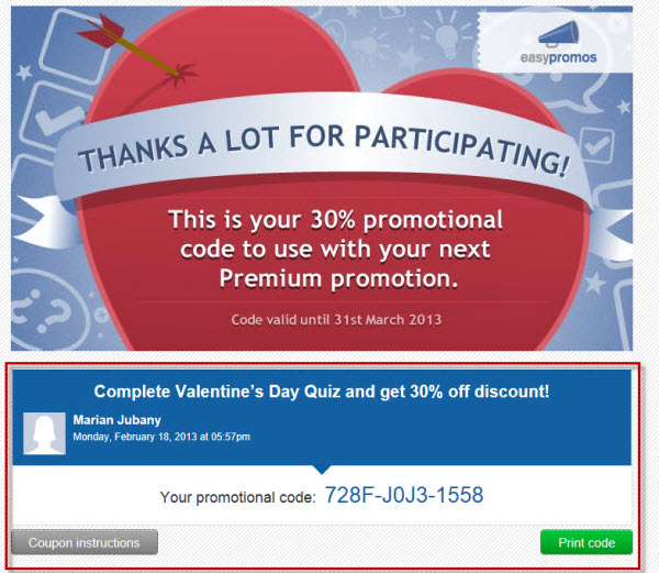 example presentation promotional code