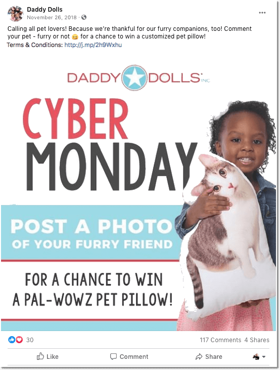 Cyber Monday promotion idea: Cyber Monday giveaway on Facebook