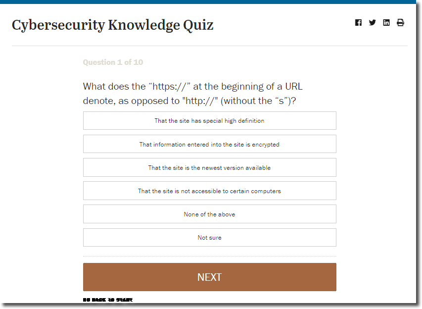 Cybersecurity quiz from Pew Center as an example of Employee Engagement