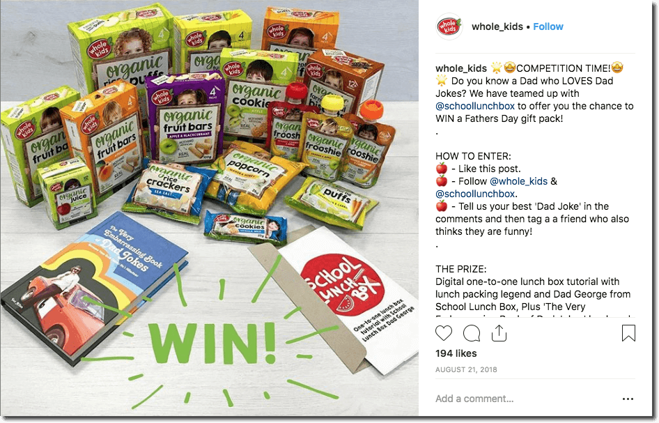 This healthy eating brand for kids ran a Father's Day giveaway on Instagram. Users commented with their best dad joke to win a collection of snacks and books, shown in the image. Father's Day Instagram giveaway idea for 2021.