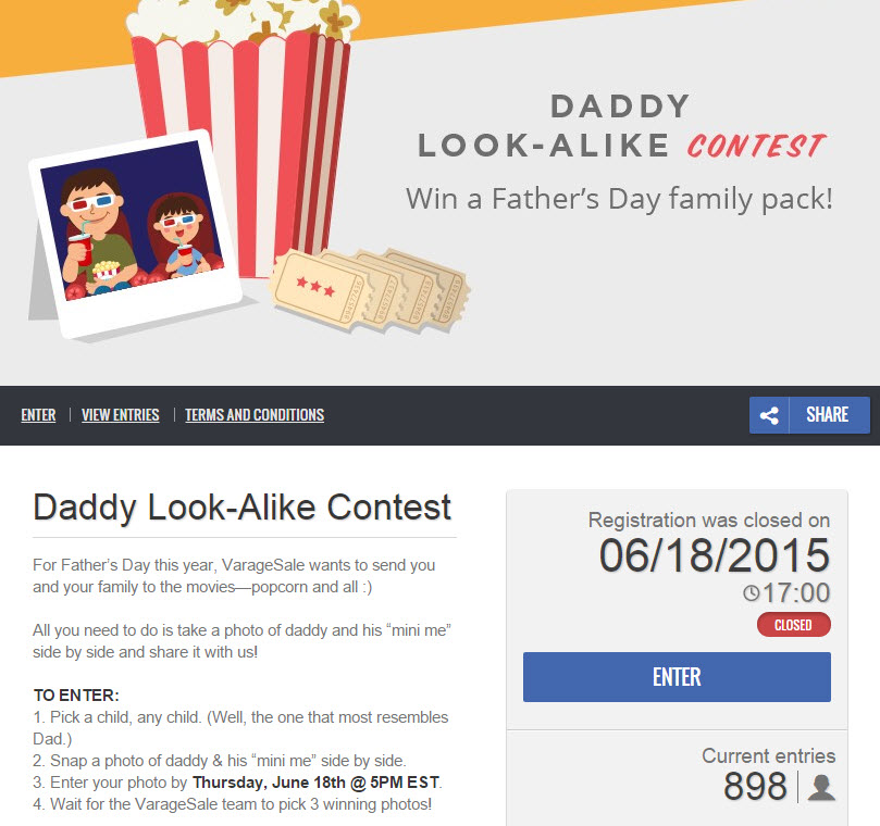 Screenshot of the VarageSale Father's Day photo contest. The front page explains the contest rules and shows that 898 people have participated so far.