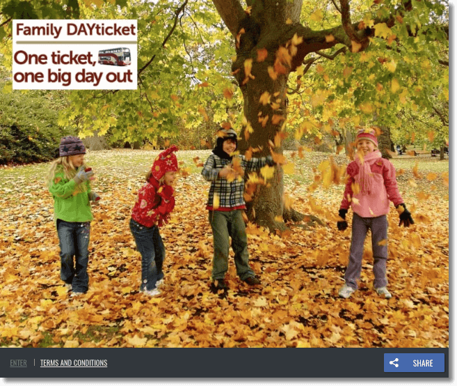 "Screenshot of fall promotions with coupon offers for families. The image shows four young children in warm clothes playing autumn leaves. A banner reads, ""Family Day Ticket. One ticket, one big day out."""