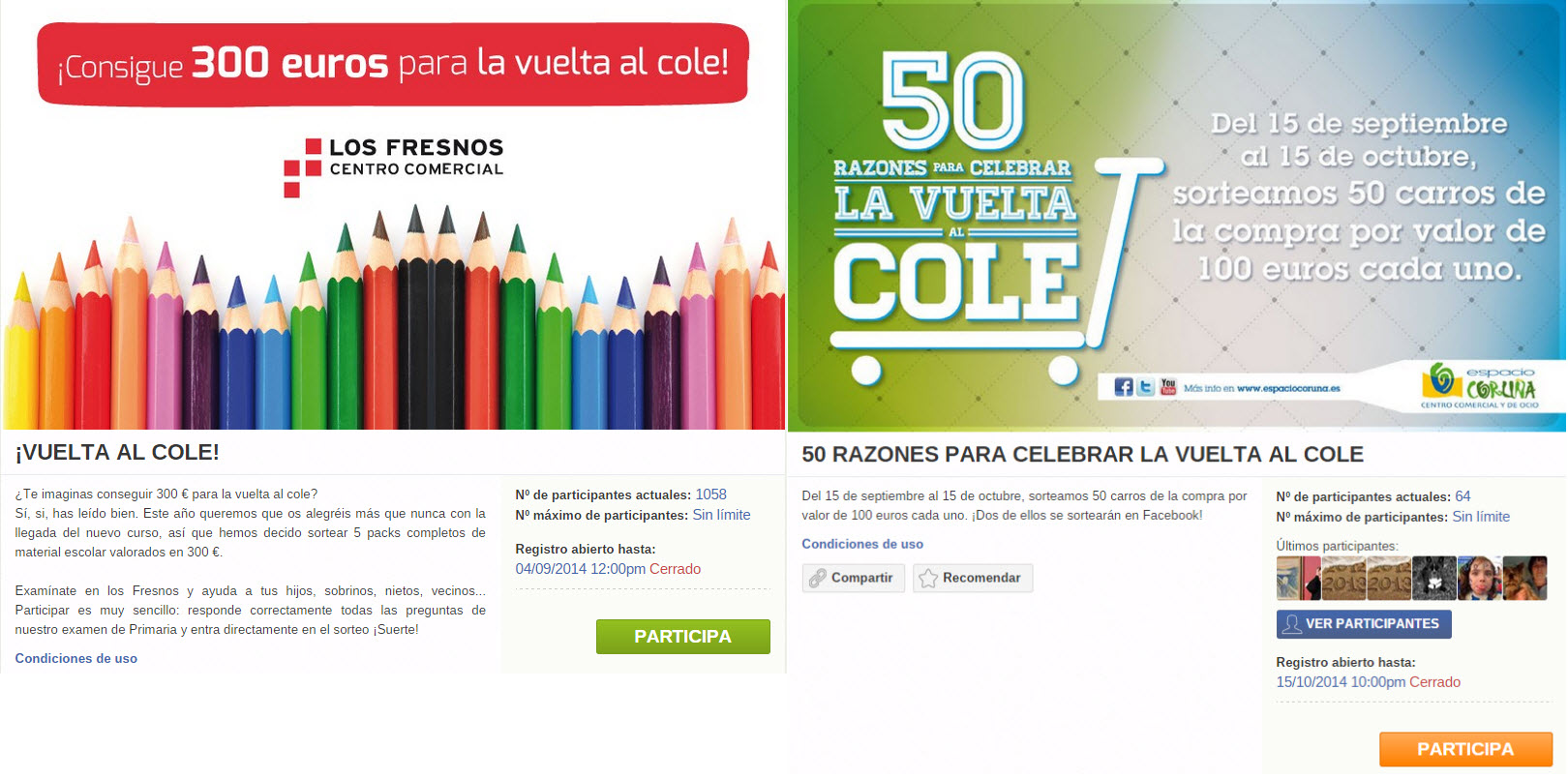 Back to School campaign ideas: screenshots from two coupon promotions
