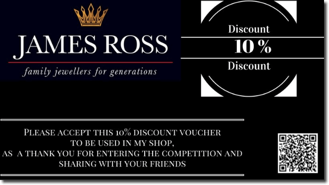 "Banner announcing a giveaway. Against a black background with a gold crown logo and a QR code, the text reads: ""Please accept this 10% discount voucher to be used in my shop, as a thank you for entering the competition and sharing with your friends."""