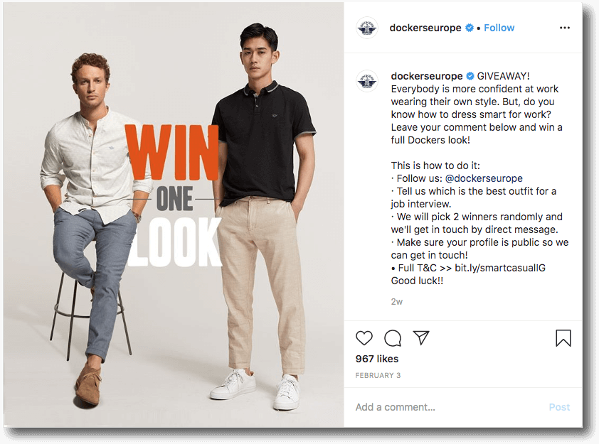 Dockers Europe Instagram giveaway
