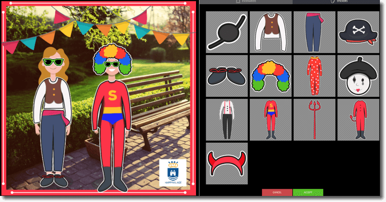 scenes app example of a dress up game. image of two characters being dressed and extra stickers