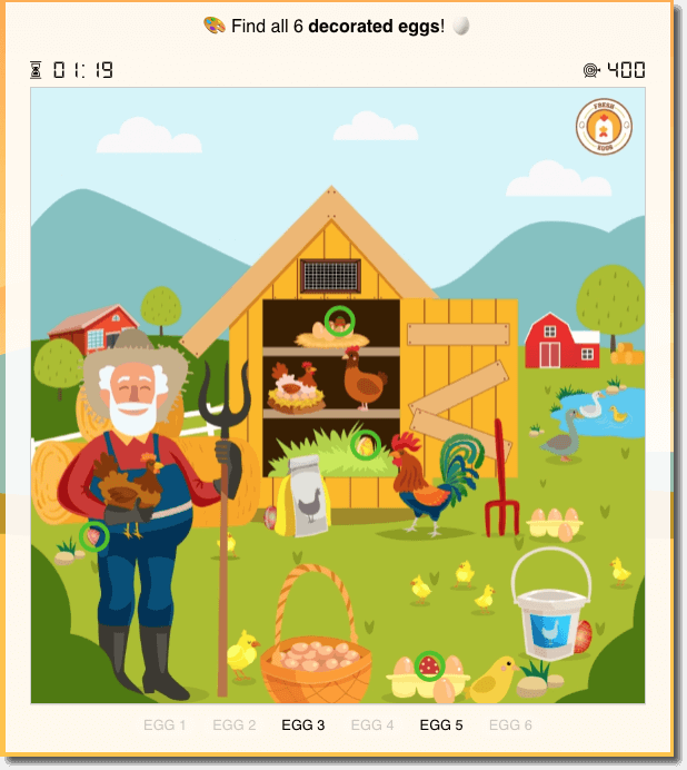 hidden objects game example from stanberg college. image of a farm with 6 decorated eggs hidden