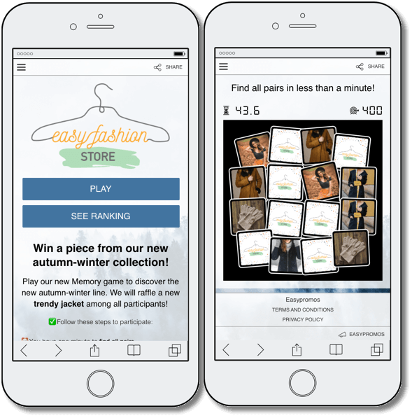 customer retention, screenshot of fashion Memory game