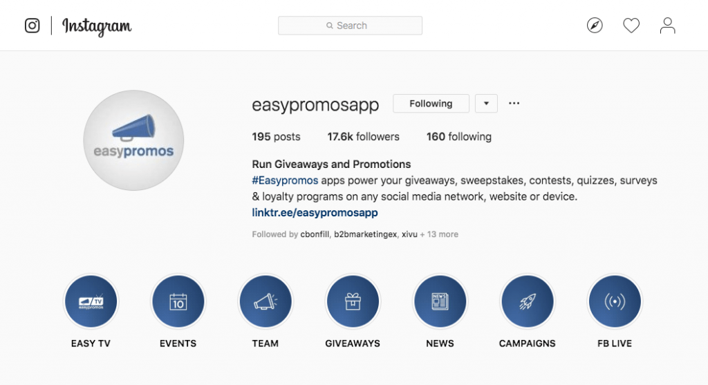 Screenshot of the Easypromos Instagram page, with highlights labelled Easy TV, Events, Team, Giveaways, News, Campaigns, and FB Live.