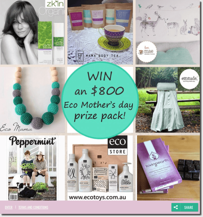 "Banner announcing a World Health Day quiz and giveaway. The image shows a collage of the products on offer. In the centre, a round green button reads: ""Win an $800 Eco Mother's Day prize pack!"""