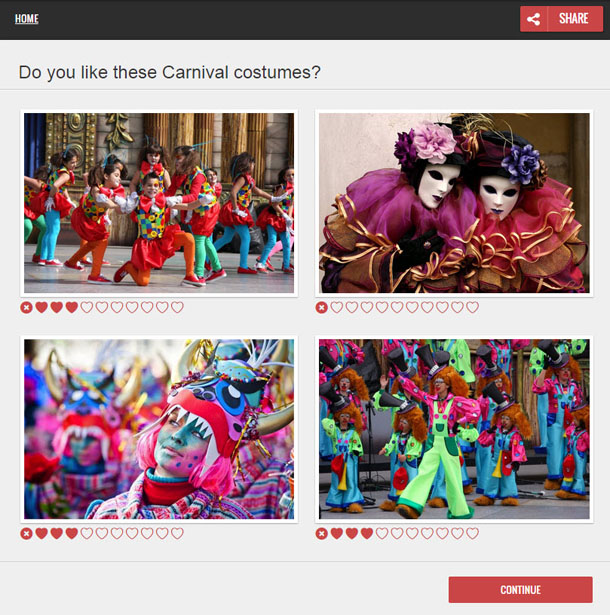 Screenshot of a survey about carnival costumes. There are 4 photos of different costumes. Users rate the photos with 1 to 9 heart symbols.