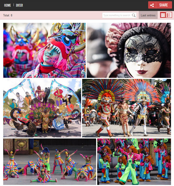 Image of a photo gallery in the carnival costume contest. There are 6 photos of brightly colored masks and outfits.