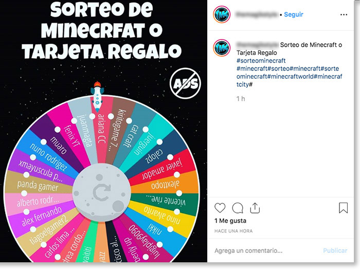 Screenshot of a fake Instagram giveaway. The image shows a static roulette wheel. The caption doesn't offer any giveaway rules or terms and conditions.