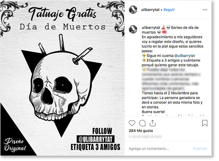 Day of the dead promotion idea. social media giveaway for day of the dead