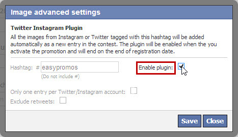 Easypromos - Enable plugin