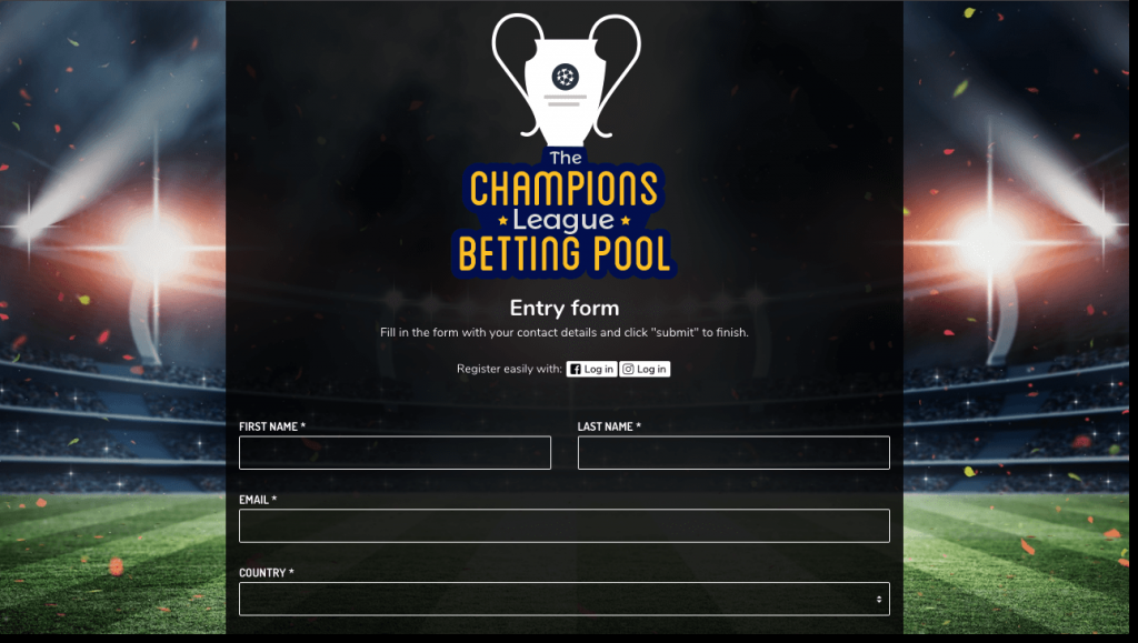 Entry form from a Champions League predictions contest. Users are asked to confirm their entry by sharing their full name, email address, and country. They can choose to log in with Facebook or Instagram.