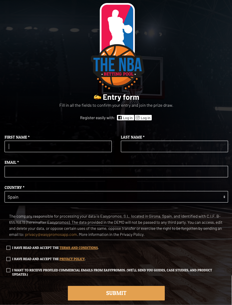 Screenshot of an NBA predictions contest entry form. Users are asked for their full name, email, and country.