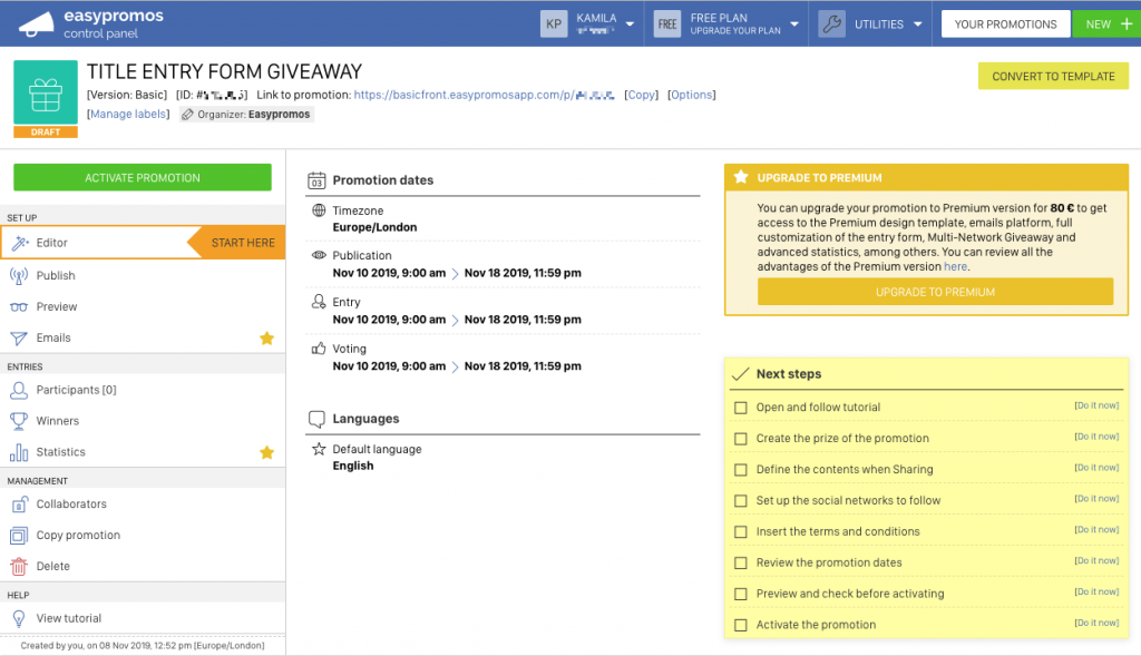 Entry Form Giveaway Panel