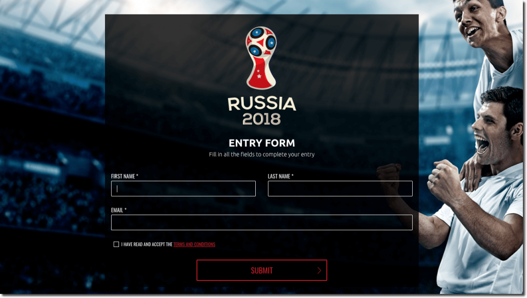 Screenshot of a World Cup predictions contest entry form. Users are asked for their full name, email address, and consent to terms and conditions.