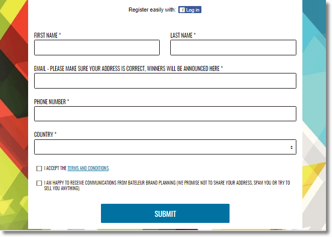 Lead generate and data marketing, entry form giveaway, screenshot of the registration form
