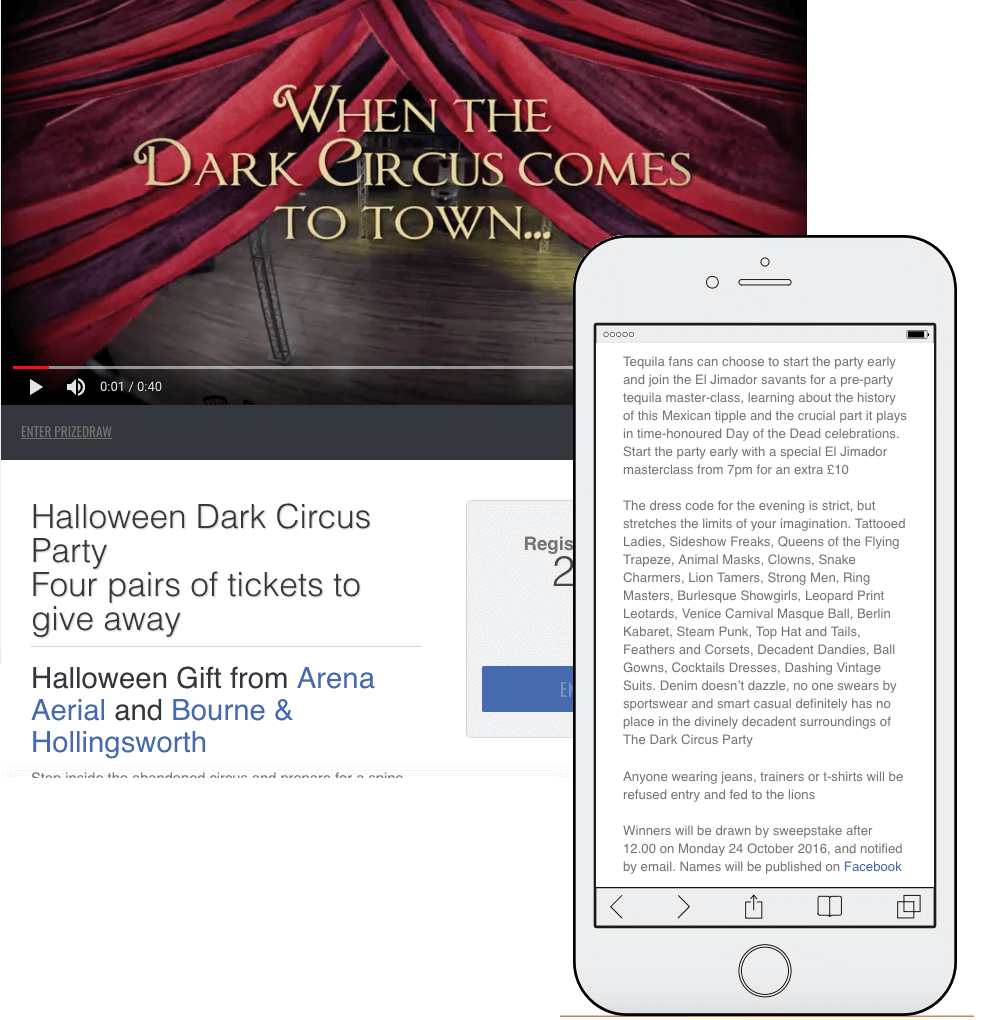 Screenshot from a Halloween themed sales contest. Participants can win tickets to a Halloween Dark Circus party.
