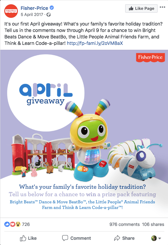 "Facebook giveaway to promote toys on social media. The image shows a collection of Fisher-Price toys, with the overlay text ""April giveaway. What's your family's favorite holiday tradition? Tell us below for a chance to win a prize pack."" The caption explains the prizes and links to the contest terms and conditions."