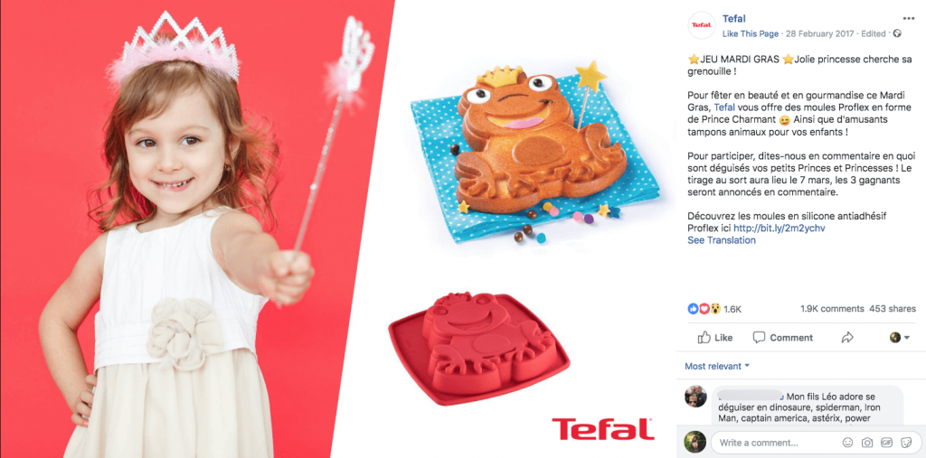 A Mardi Gras giveaway on facebook. The image shows a little girl dressed as a princess, a frog-shaped cake, and a frog-shaped cake mould. The caption describes how to take part, in French.