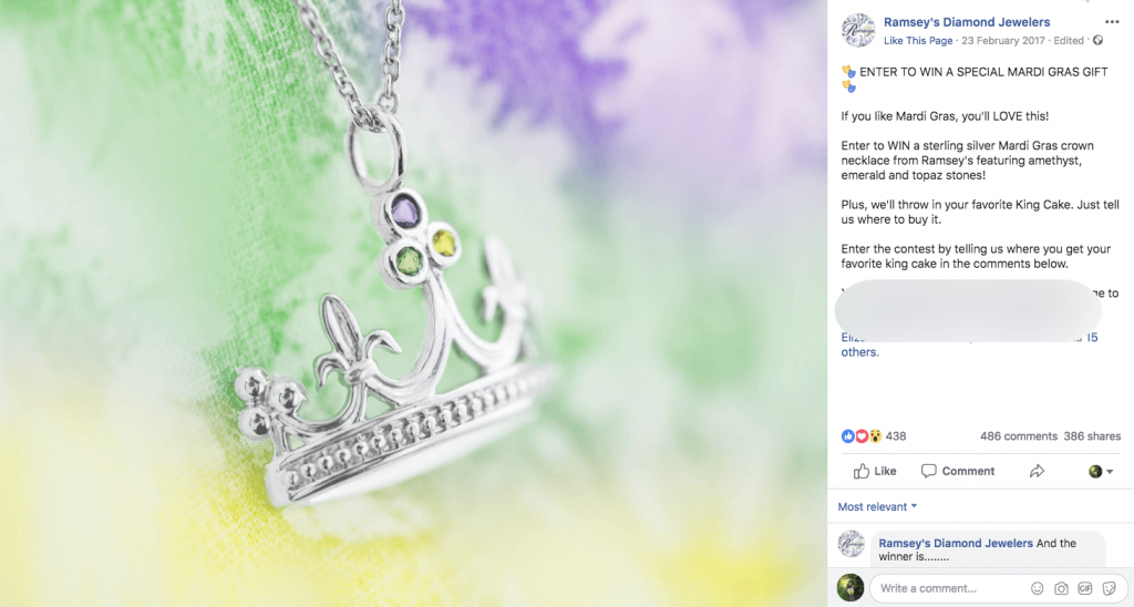 Facebook post announcing a Mardi Gras giveaway. The photo is of a jewelled silver pendant in the shape of a Mardi Gras crown. The post text describes the rules of the contest, with the pendant and a King Cake available to win.