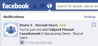 Easypromos - Facebook notification new recruited user