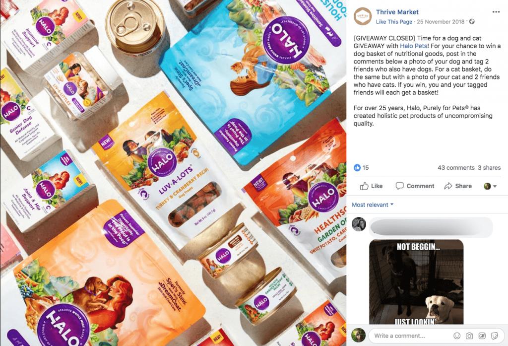 Screenshot of a Facebook post announcing a photo contest to win a hamper of cat treats