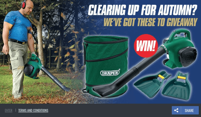 "Fall giveaway ideas: gardening tools. This example shows photos of a man working with a leafblower and other tools. The overlay text reads, ""Clearing up for autumn? We've got these to give away. Win!"""