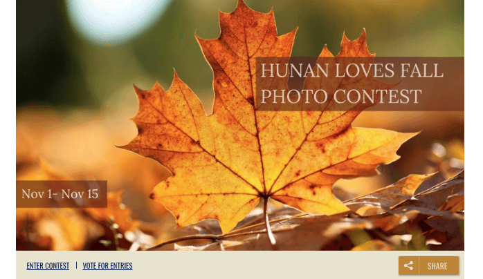 "Banner image from a fall photo contest. The photo shows a large orange leaf, with the overlay text ""Hunan Loves Fall Photo Contest, Nov 1 - Nov 15."""