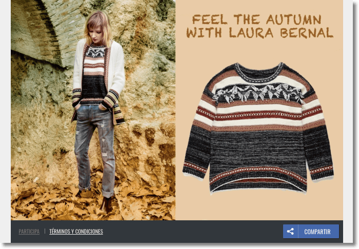 Banner image from a fall fashion giveaway. The photo shows a warm jumper in brown, black and white tones, beside another image of a woman wearing the jumper while walking through autumn leaves.