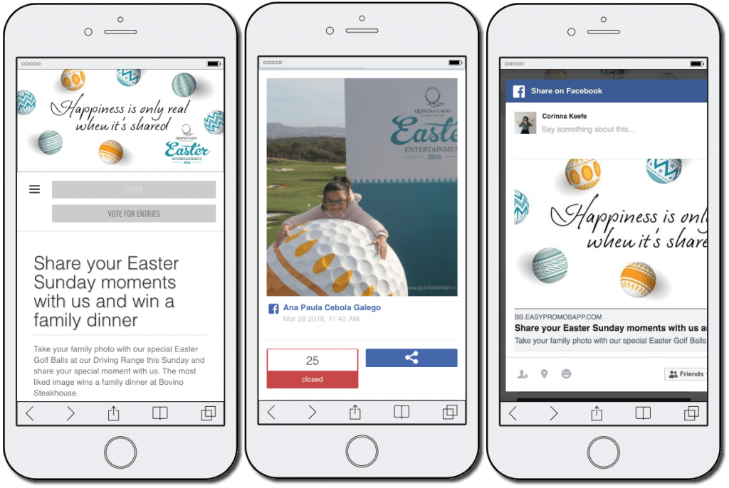Easter promotion ideas: a family photo contest. The image shows 3 mobile screenshots. 1: a golf course announces an Easter Sunday photo contest to win a family dinner. 2: a contest entry shows a young girl playing at the golf course. 3: a Facebook status sharing the contest.