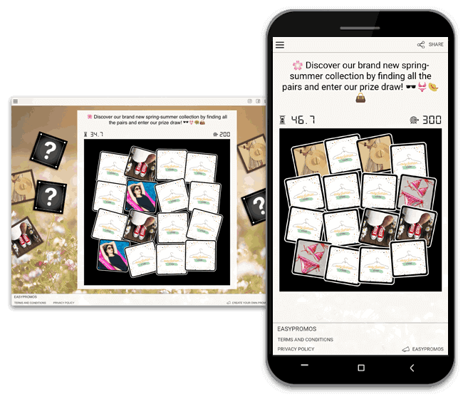 brand recognition: work on it with branded mini-games, for example, memory game