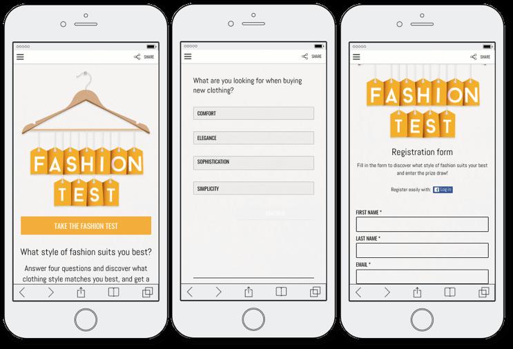 demo personality quiz fashion test, registration