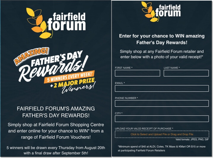 father's day entry form giveaway for brand recognition