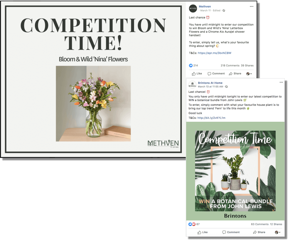 Product promotion examples with Facebook giveaways