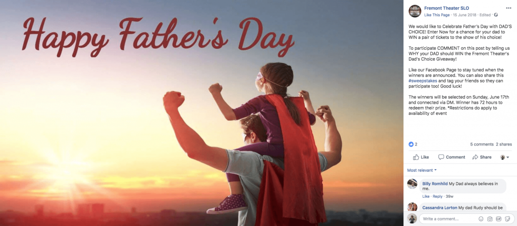 "Example of Father's Day giveaways on Facebook. The photo shows a small girl sitting on her father's shoulders. They are both wearing ""superhero"" capes and masks, and watching the sunset. The text overlay reads, ""Happy Father's Day""."