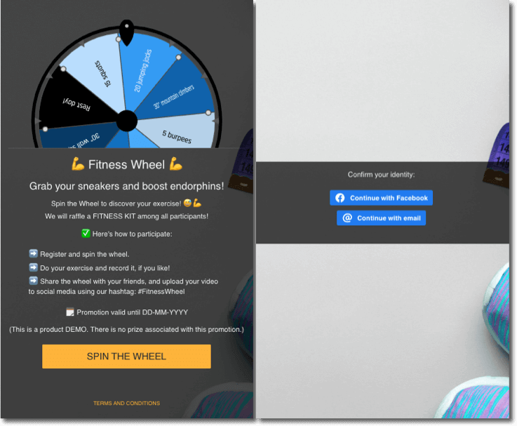 branded prize wheel example - fitness wheel by easypromos
