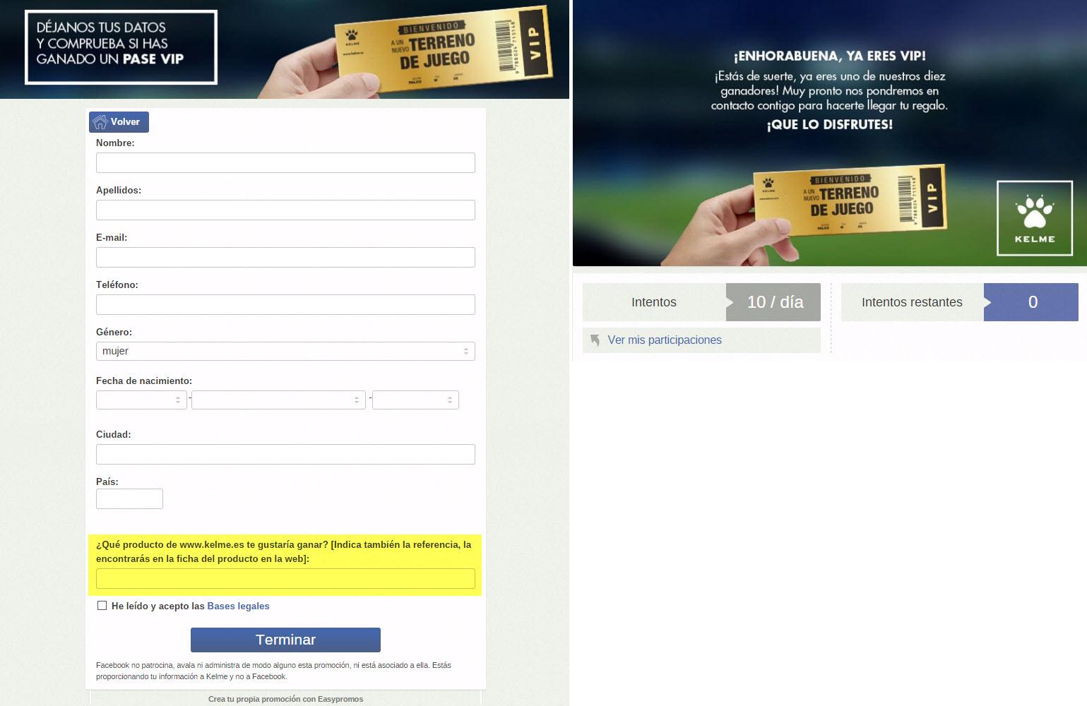 promotion's registration form