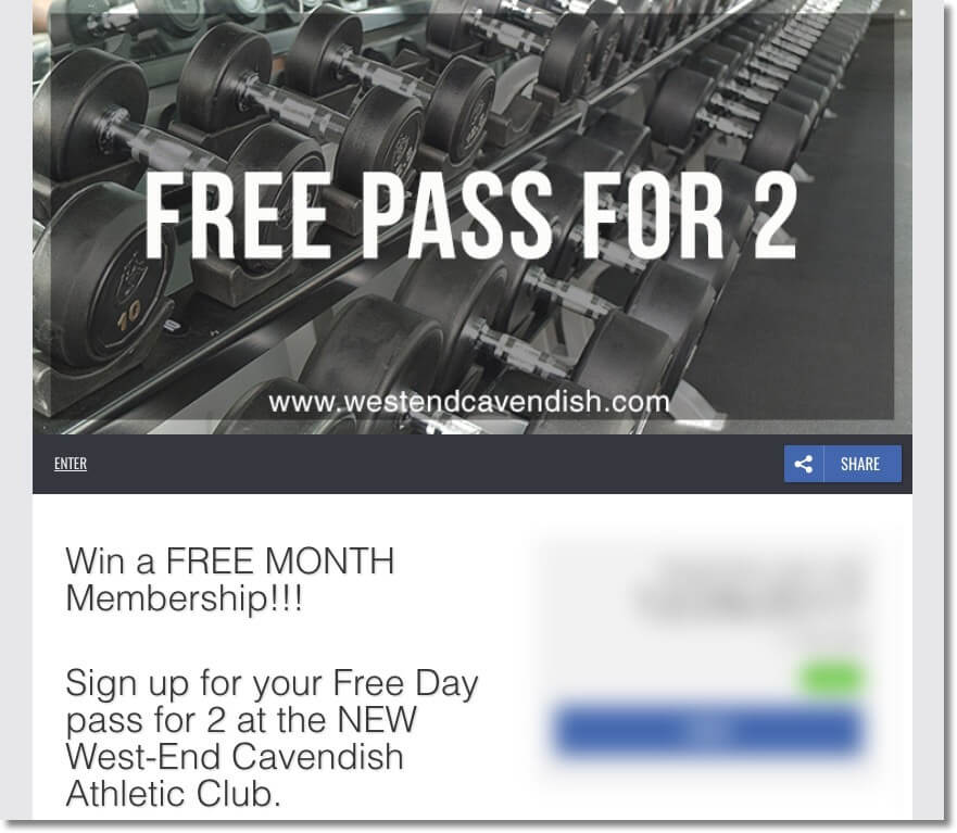 Sports fitness marketing giveaway registration