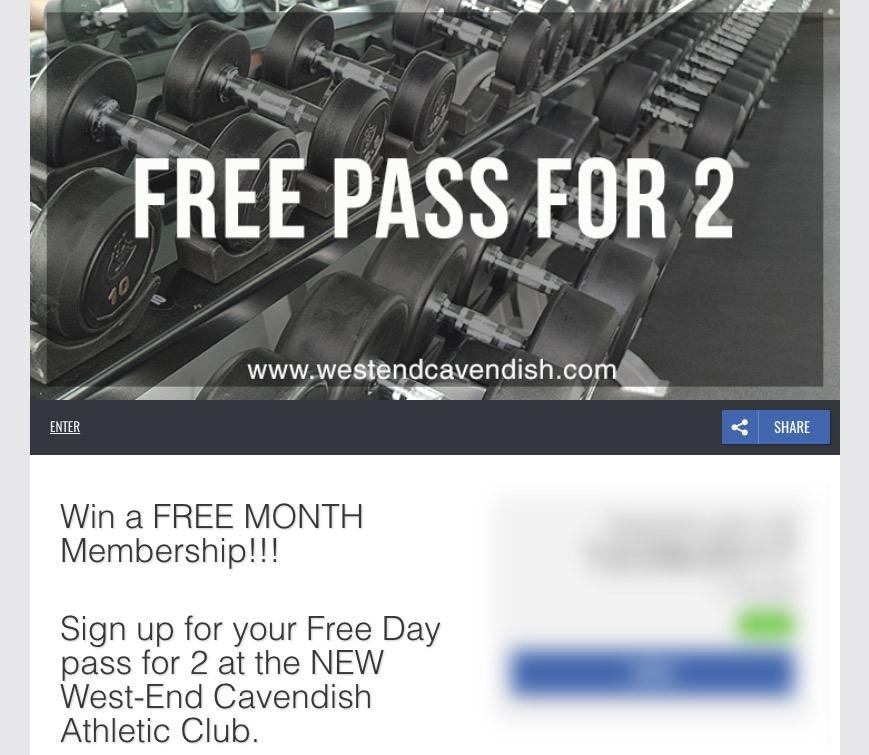 Sports fitness marketing giveaway registration