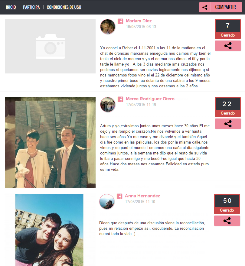 Screenshot of competition entries. Each entry has a photo of the couple, next to a short text telling their story. Buttons display the number of votes which each story has received.