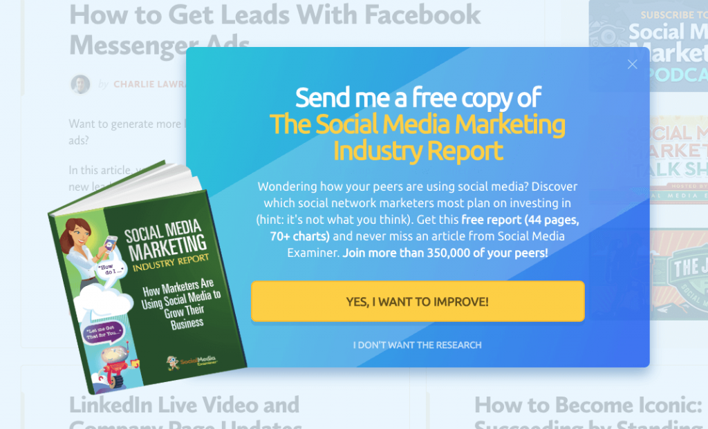 An example of gated content. A pop-up invites users to download the Social Media Marketing Industry Report. They must click through to a sign-up page to get the download.