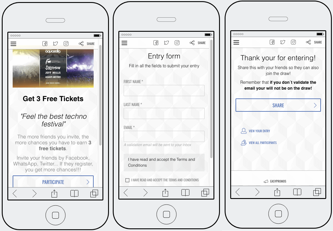 Example of a festival promotion to collect contact details. 3 mobile screenshots show the homepage of the contest, advertizing 3 free tickets; the entry form, asking for full name and email address; and a thank you page which reminds users to validate their email address to confirm consent.