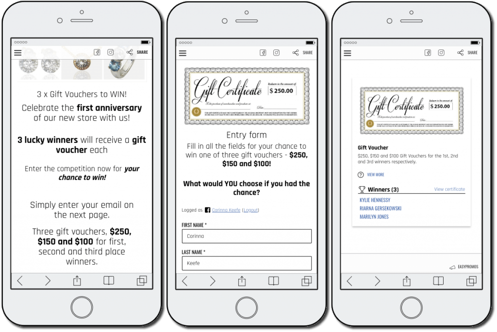 3 screenshots from a jewelry promotion on a mobile device. 1: there are 3 gift vouchers available to win. 2: users complete a form with their full name and email address. 3: the winners are announced.