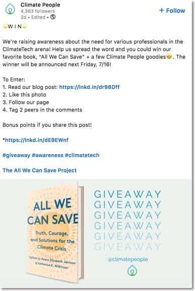 linkedin giveaway example